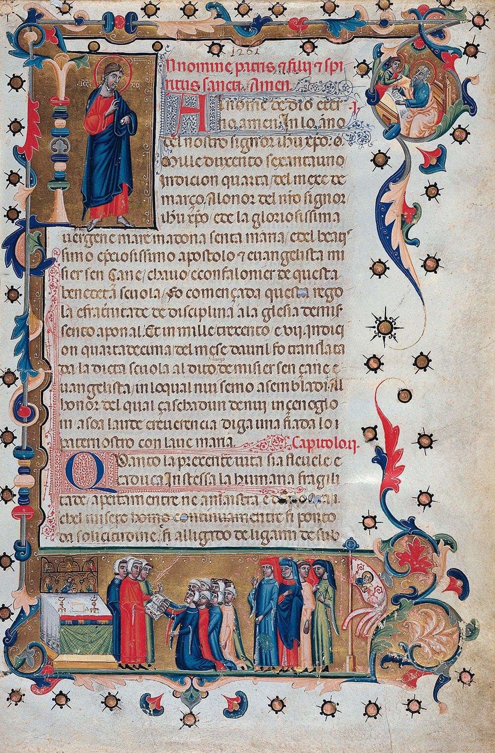 Mariegola della Scuola Grande di San Giovanni Evangelista. 16th century, first page. Venice, Fondazione Giorgio Cini.